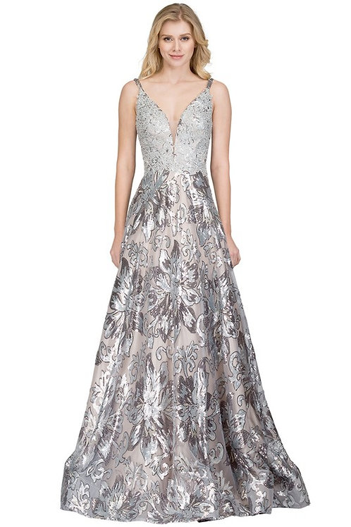 Sequin V Neck A Line Prom Gown