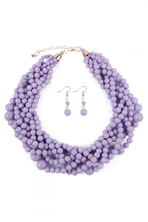 S6-5-4-AHDN2162LV LAVENDER MULTI STRAND BUBBLE CHOKER NECKLACE AND EARRING SET