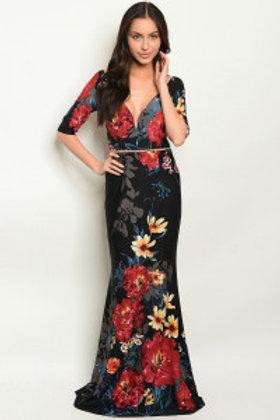 S20-3-3-D18492 BLACK RED FLORAL DRESS