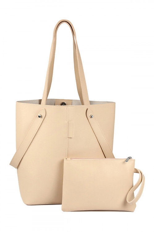 SA4-1-1-AHDG2530CA  LEATHER TOTE BAG WITH ZIPPER POUCH