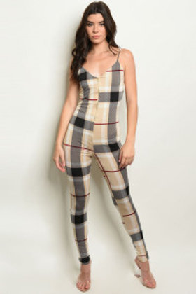 C48-A-5-J4209 TAUPE CHECKERED JUMPSUIT