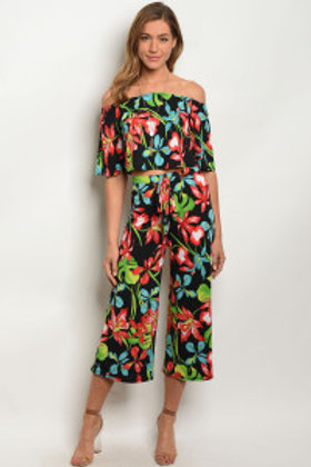 C60-A-2-P72764 BLACK FLORAL PANTS 2-2-2 ***TOP NOT INCLUDED***