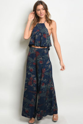 S24-5-5-SET3269 NAVY FLORAL TOP & PANTS SET