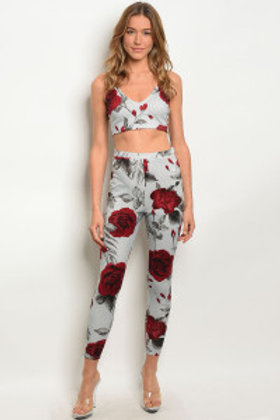 C24-A-3-SET361 GRAY WINE WITH ROSES PRINT TOP & PANTS SET