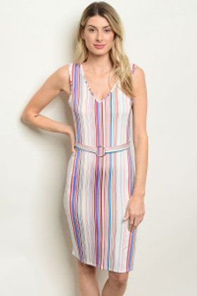 C101-A-2-D5108 OFF WHITE MULTI STRIPES DRESS