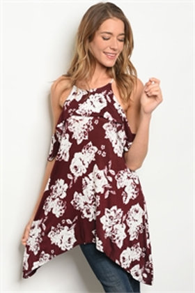 C11-A-3-T7745 BURGUNDY OFF WHITE TOP