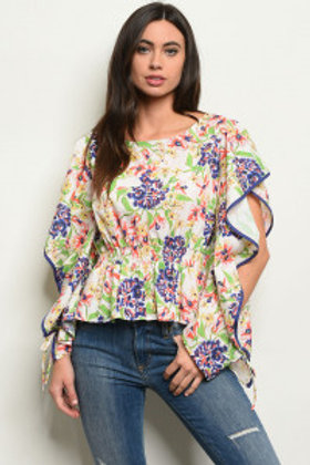 S17-12-3-T22355 OFF WHITE MULTI FLORAL TOP