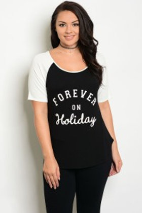 """C96-B-2-T21034X IVORY BLACK """"FOREVER ON HOLIDAY"""" PRINT PLUS SIZE TOP"""