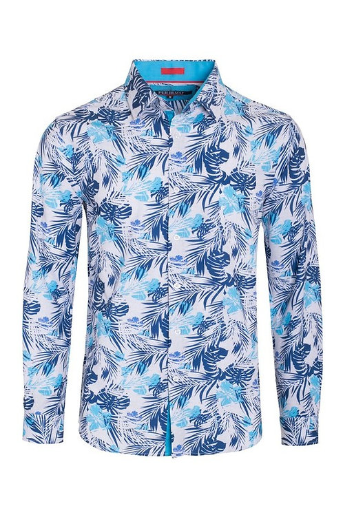Turquoise Stretch Floral Shirt