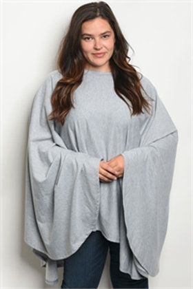 C93-A-3-T30470X GRAY PLUS SIZE TUNIC TOP