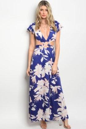 108-1-2-D8718 NAVY PEACH FLORAL DRESS