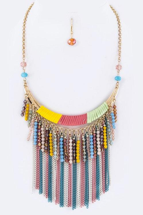 Fringe Beads & Chain Collar Necklace Set