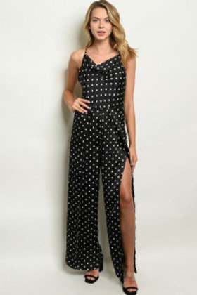 S17-7-2-J3009 BLACK W/ DOTS JUMPSUIT