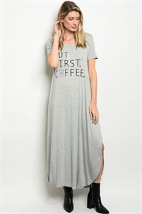 "C81-A-1-D15751 GRAY ""BUT FIRST COFFEE"" PRINT DRESS"