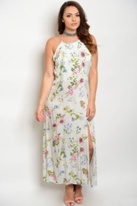 S6-2-5-DR16495X IVORY WITH FLOWERS PLUS SIZE DRESS