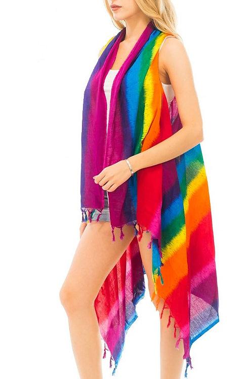 Vest-287 Cooling cotton Rainbow Stripe color Dyed Oversize Cover Up Vest
