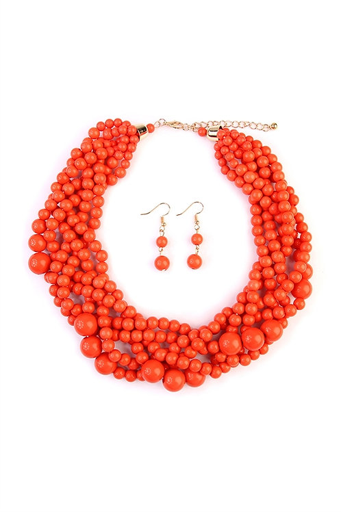 S6-4-1-AHDN2162CO CORAL MULTI STRAND BUBBLE CHOKER NECKLACE AND EARRING SET