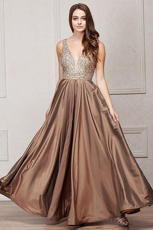 Embellished Deep V neck Top with Satin Skirt