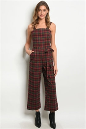 S10-1-1-J71444 RED CHECKERED JUMPSUIT