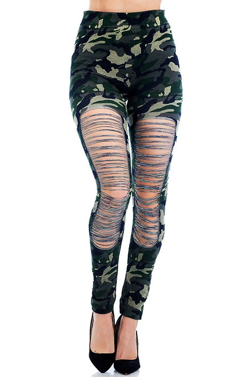 LG-153-1114.6 Distressed Frontal Ripped Fashion Wear Tight Legging Pants