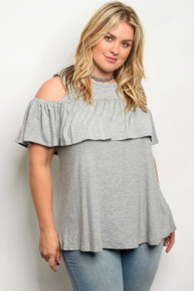 C83-A-2-T1003X GRAY PLUS SIZE TOP