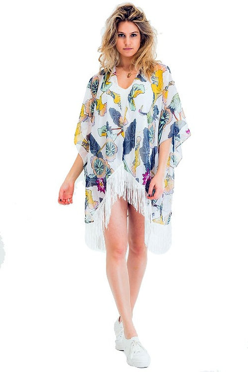 Black Fringed Cover Up Kimono