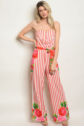 S15-5-1-J13508 WHITE STRIPES JUMPSUIT