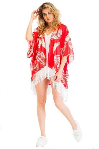 65e1835534eb1 Leaves Chiffon Type Fringe Cover Up Kimono