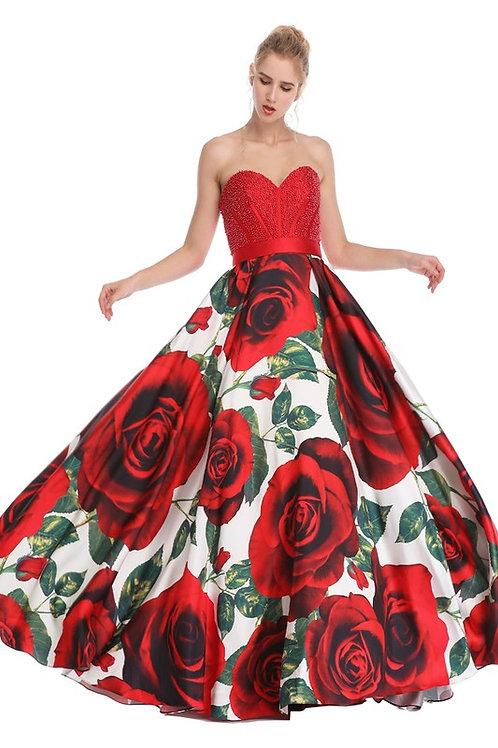 Pearl Beaded Sweetheart Floral Print Dress