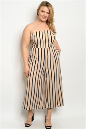 S11-19-1-J73590X BEIGE BLACK STRIPES JUMPSUIT