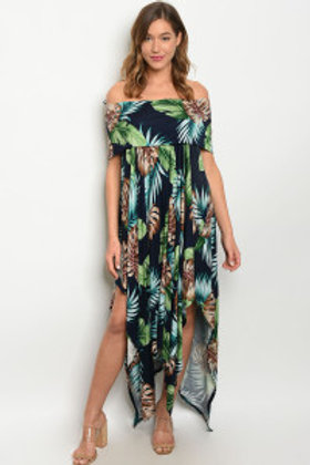 S17-11-4-D11103 NAVY MULTI WITH LEAVES DRESS