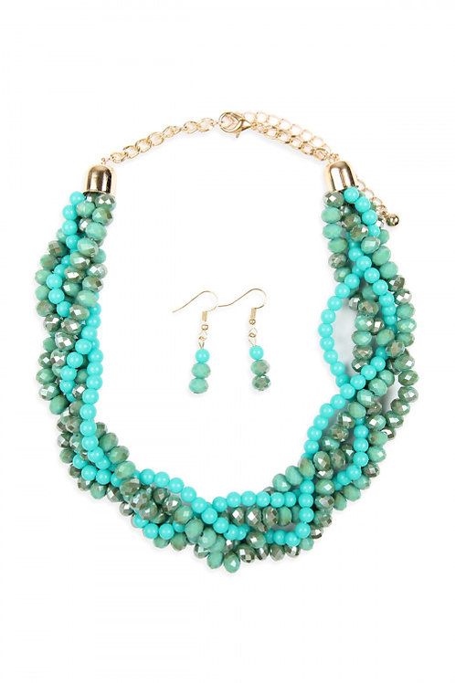 S6-4-4-AHDN2552TQ TURQUOISE 4 LINES BRAIDED GLASS BEADS NECKLACE AND EARRING SET