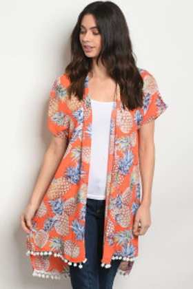 S24-7-4-C35371 ORANGE WITH PINEAPPLE PRINT KIMONO