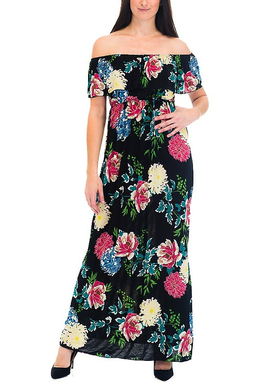 KM-267-2698 Peony Floral Printed Long Off the Shoulder Maxi Dress for Women