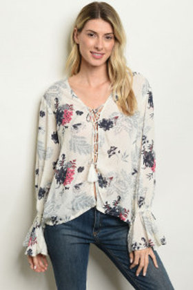 S85-11-5-T53815 IVORY FLORAL TOP