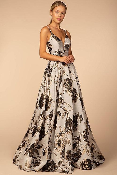 V-Neck Floral Long Dress 462-547