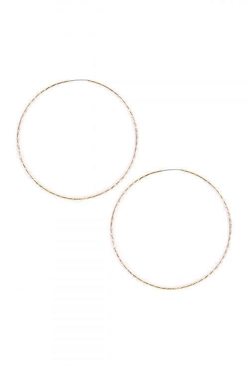 "S5-6-3-AJHE3005-7G GOLD 2.5"" TEXTURED ENDLESS HOOP EARRING"