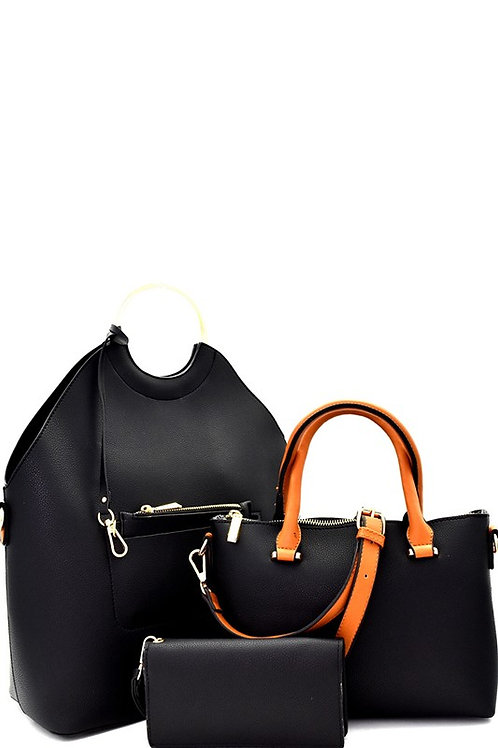 Metal Handle Accent 3 in 1 Tall Satchel