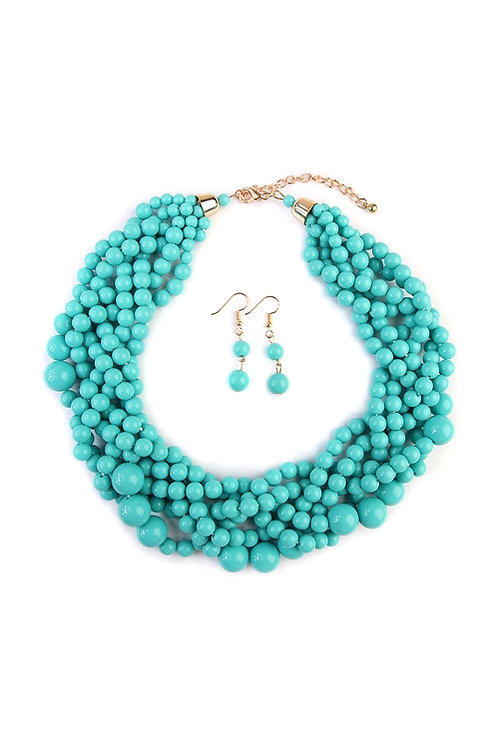 S5-6-5-AHDN2162MN MINT MULTI STRAND BUBBLE CHOKER NECKLACE AND EARRING SET
