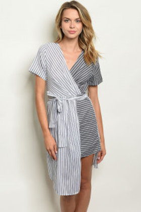 S19-10-3-D32810 BLACK WHITE STRIPES DRESS