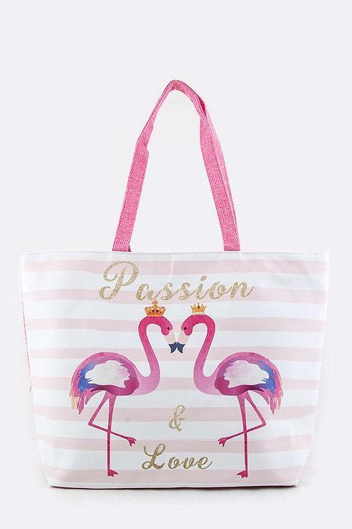 Flamingo Love Fashion Summer Tote