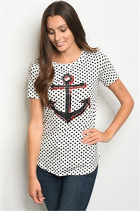 C52-B-6-T3833 WHITE POLKA DOT TOP