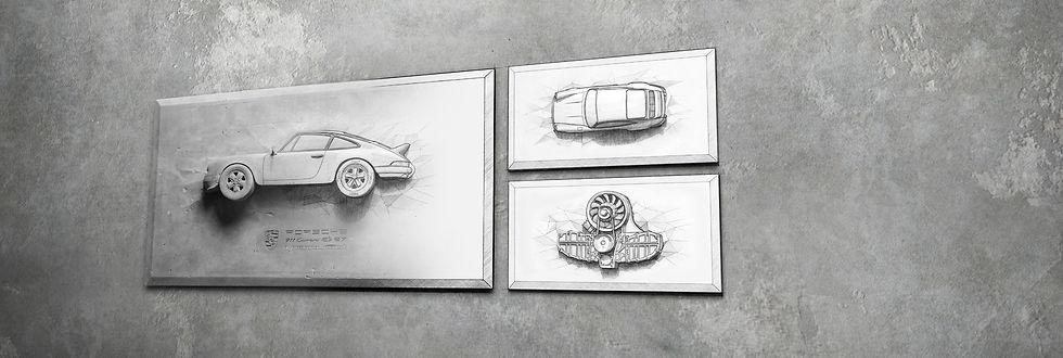 Porsche 911 Carrera RS 2.7 als Zeichnung / Sketch