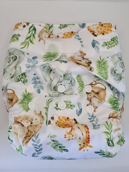 Green Cheeks Sleepy Animals - Hemp Cloth Pocket Nappy