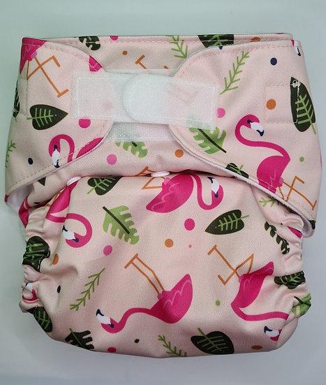 Green Cheeks Let's Flamingle - Hemp Cloth Pocket Nappy