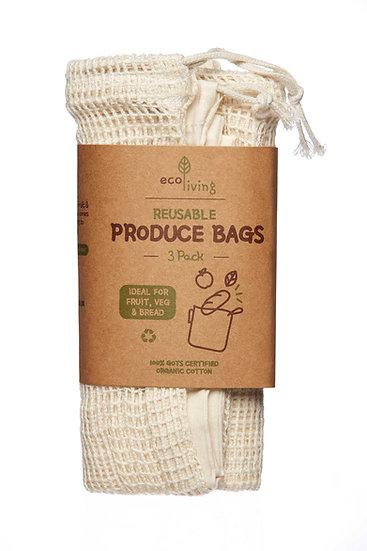 Organic Produce Bags & Bread Bag - 3 Pack (No packaging)
