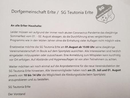 Absage Sommerfest / Vereinsmeisterschaft Boule