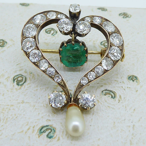 Victorian Emerald, Diamond and Pearl Pendant Brooch