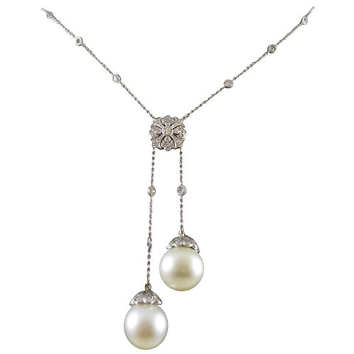 Vintage Cultured Pearl and Diamond Negligee Necklace