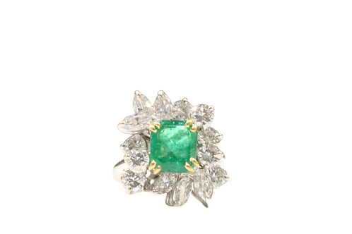 2.30ct Emerald and diamond cluster ring